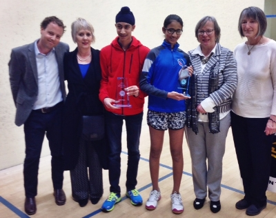 Left to right - Jamie Nicholls (Squash Ontario), Gail Crossman (Award Creator), Jagroop Bangoo (accepting on behalf of Amin Khan), Aparna Maheswari, Sandra Fanson , and Janice Lardner (Squash Ontario).