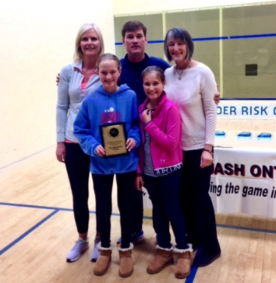 The McCarthy family with Squash Ontario President Janice Lardner.