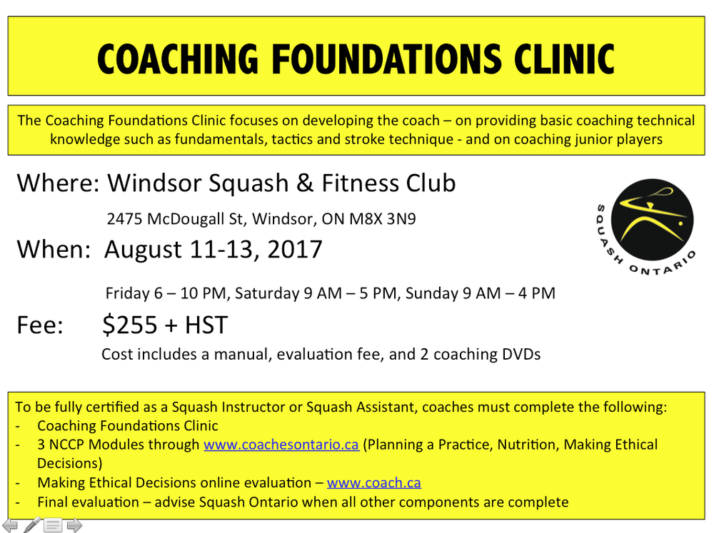 Coaching Foundations Course — Squash Ontario