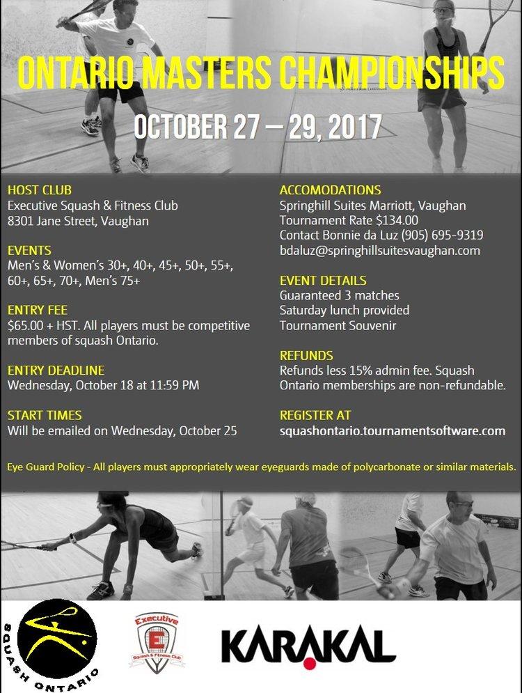Ontario Masters Championships Squash Ontario