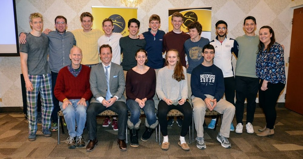 The graduating class of 2018 (those in attendance). (Back row left-right) Will Harris, Coach Greg Hutner, Alex Spafford, Dom Wren, Elliott Hunt, James Flynn, George Crowne, Liam Marrison, Darosham Khan, Will Kuhn, Squash Ontario staff Lauren Sachvie. (Front row left-right) Coach Rob Brooks, Squash Ontario staff Jamie Nicholls, Catherine Giachino, Sydney Maxwell, and Justin Ghaeli.