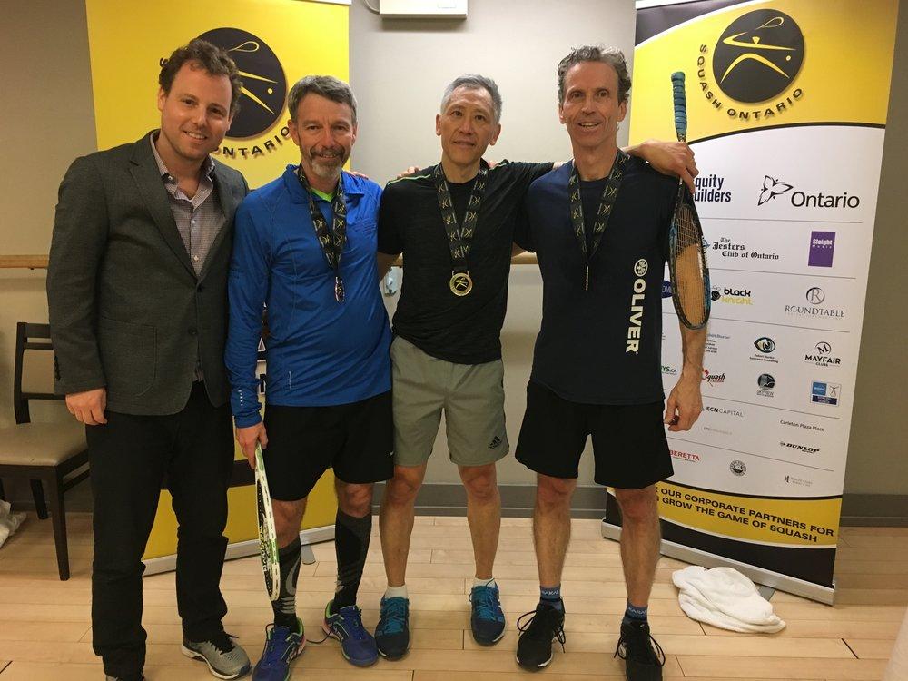 L-R: Squash Ontario's Jamie Nicholls, Gary Delavigne, Bill Lam, Tom Powers