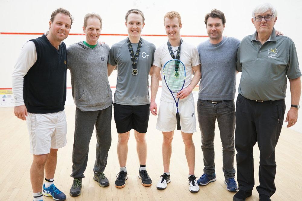 L-R: Squash Ontario's Jamie Nicholls, Mayfair Parkway's Willie Hosey, Finalist Mike McCue, Champion Andrew Schnell, Squash Stream's Josh Ginou, Tournament Referee Bob Mansbridge
