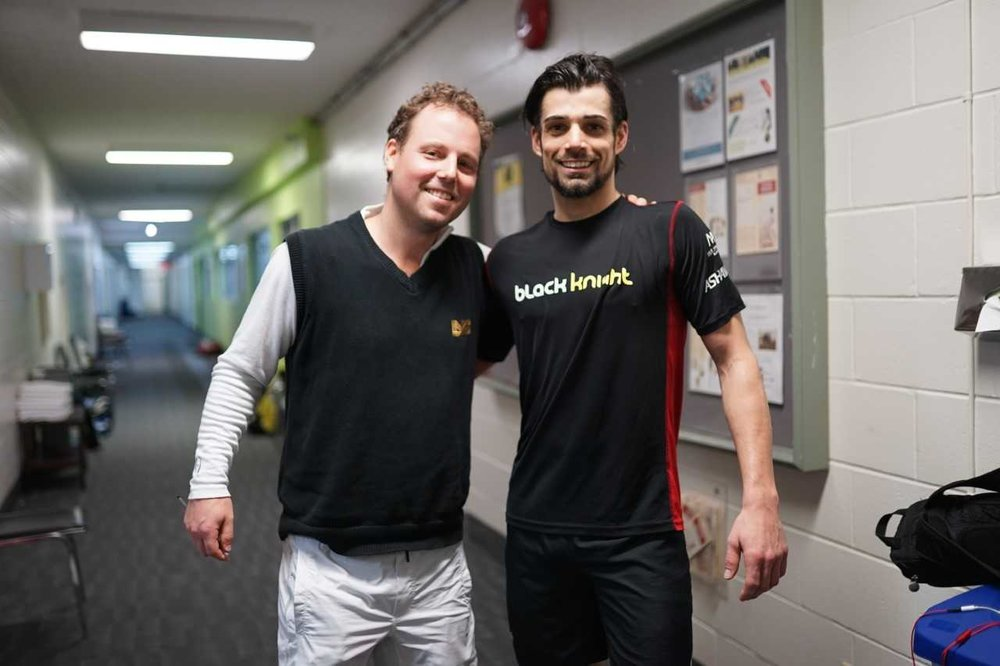 L-R: Squash Ontario's Jamie Nicholls, Shawn Delierre