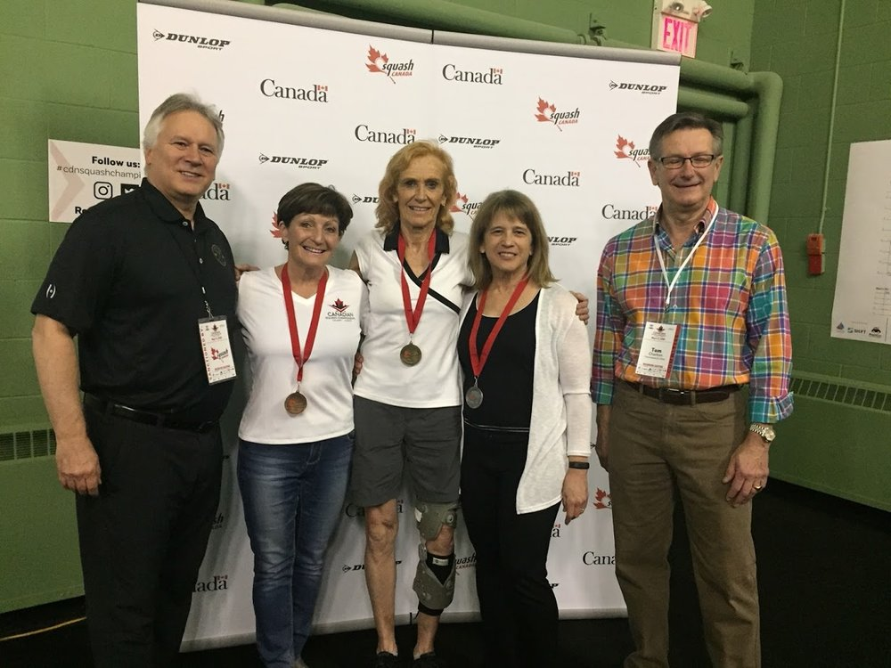 Women's 60/65+ Podium: Ontario's finalist Lorraine Tetreault (second from right). Lorraine was also given the Women's 60+ gold.