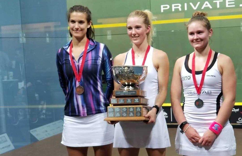 Women's Open Podium from left to right: Sam Cornett (third), Danielle Letourneau (winner), Hollie Naughton (second)