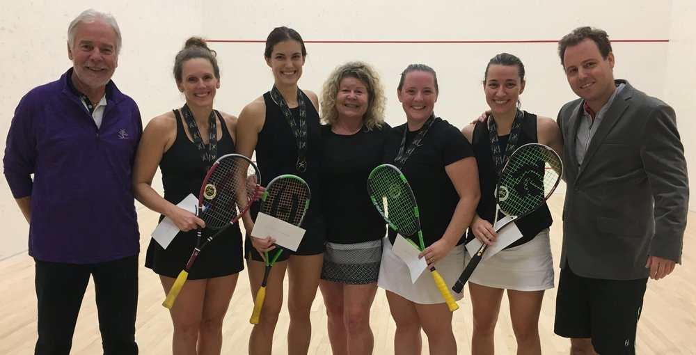 Women's Open Champions: (left to right) Tom Nederpal (Tournament Referee), Champions Seanna Keating and Sam Cornett, Diane Naughton (Tournament Chair), Finalists Stephanie Edmison and Miranda Ranieri, Jamie Nicholls (Squash Ontario Executive Director).
