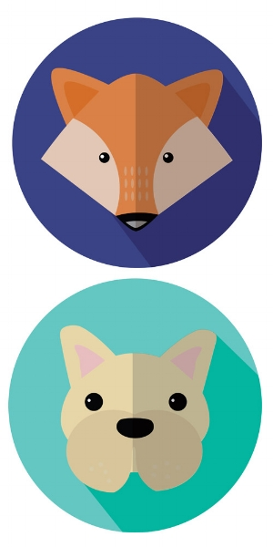 Personal project: A  French Bulldog  and his  fox  friend || Adobe Illustrator & Photoshop