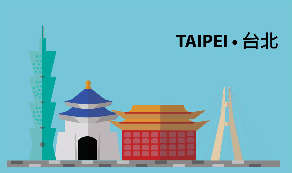 Design competition entry for a  Taipei city skyline || Adobe Illustrator & Photoshop