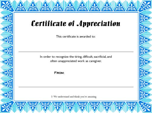 Printable Caregiver Certificate