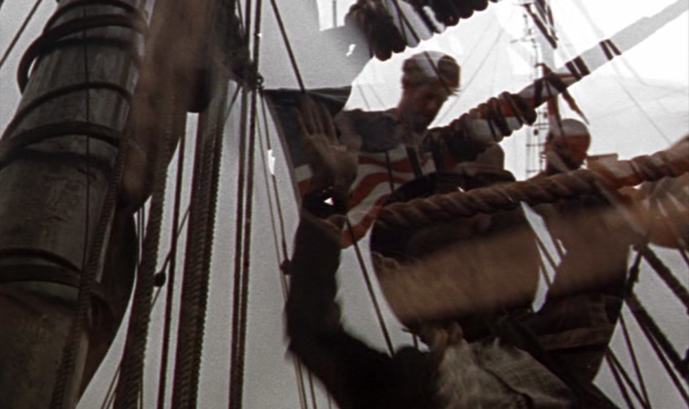 "Pip accompanies the Pequod's crew to a round of ""Heave Away My Johnny"" as she leaves New Bedford's port. Moby Dick (Warner Bros. 1956)"