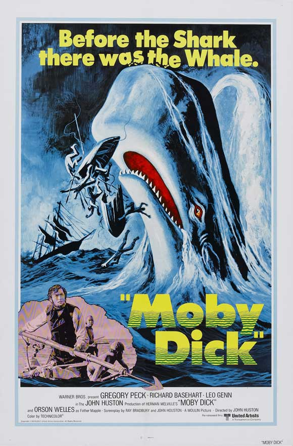 A poster for the 1976 release of Moby Dick, directly acknowledging the film as an inspiration for Jaws, released the previous year.