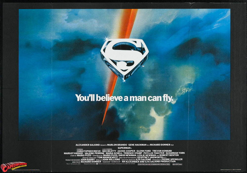 Original teaser poster for Richard Donner's  Superman  (Warner Bros, 1978)