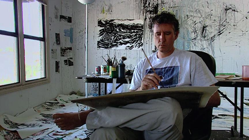 Raymond Pettibon in his Hermosa Beach studio.