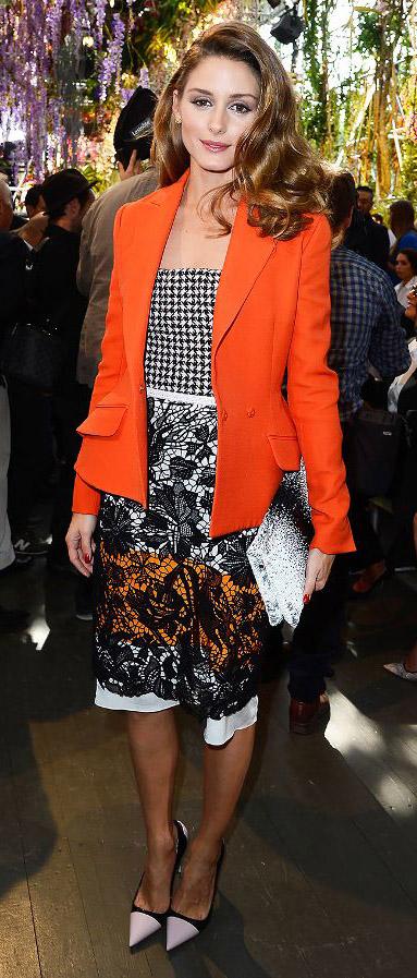 celebrity-trendsetter-style-type-fashion-oliviapalermo-orange-blazer-jacket-black-print-lace-skirt-pumps-clutch.jpg