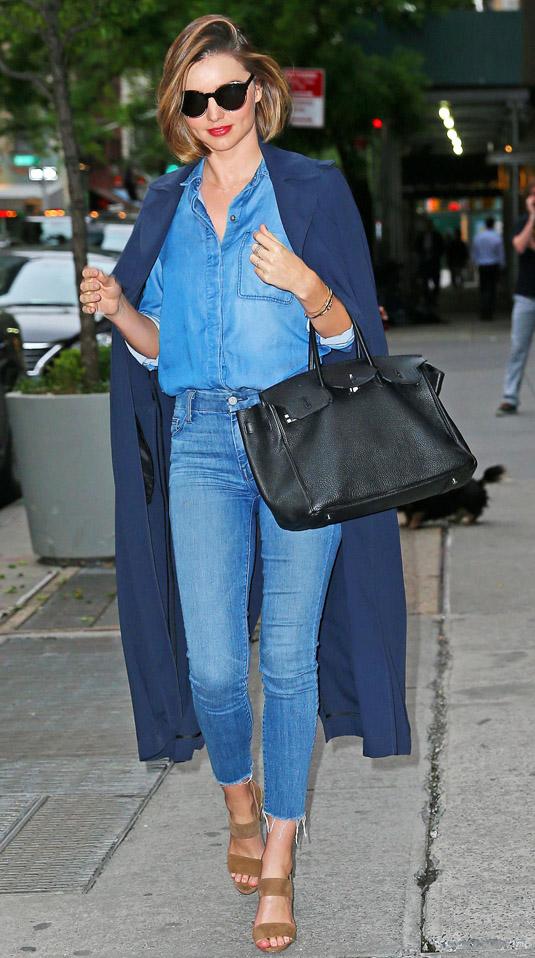 celebrity-blue-med-skinny-jeans-blue-med-top-collared-shirt-blue-navy-jacket-coat-mirandakerr-black-bag-sun-tan-shoe-sandalh-hairr-spring-summer-classic-lunch.jpg