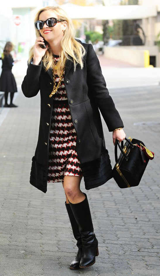 red-dress-aline-print-houndstooth-black-jacket-coat-black-shoe-boots-sun-black-bag-reesewitherspoon-howtowear-style-fall-winter-blonde-work.jpg
