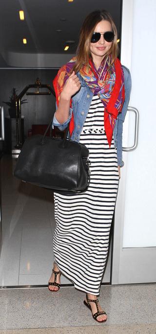 black-dress-zprint-stripe-blue-light-jacket-jean-red-scarf-black-bag-black-shoe-sandals-sun-maxi-mirandakerr-wear-style-fashion-spring-summer-travel-airport-hairr-classic-weekend.jpg