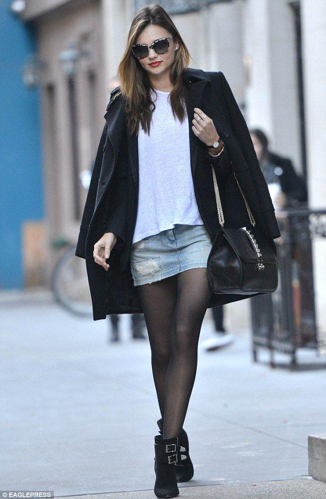 blue-light-mini-skirt-white-tee-black-jacket-blazer-black-jacket-coat-sun-black-bag-sun-wear-fall-winter-denim-jean-black-tights-black-shoe-booties-mirandakerr-hairr-classic-lunch.jpg