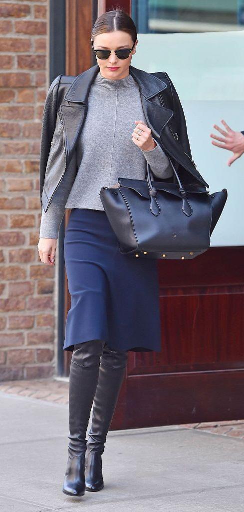 blue-navy-aline-skirt-grayl-sweater-black-jacket-moto-wear-style-fashion-fall-winter-black-shoe-boots-black-bag-sun-bun-mirandakerr-celebrity-street-brun-classic-work.jpg