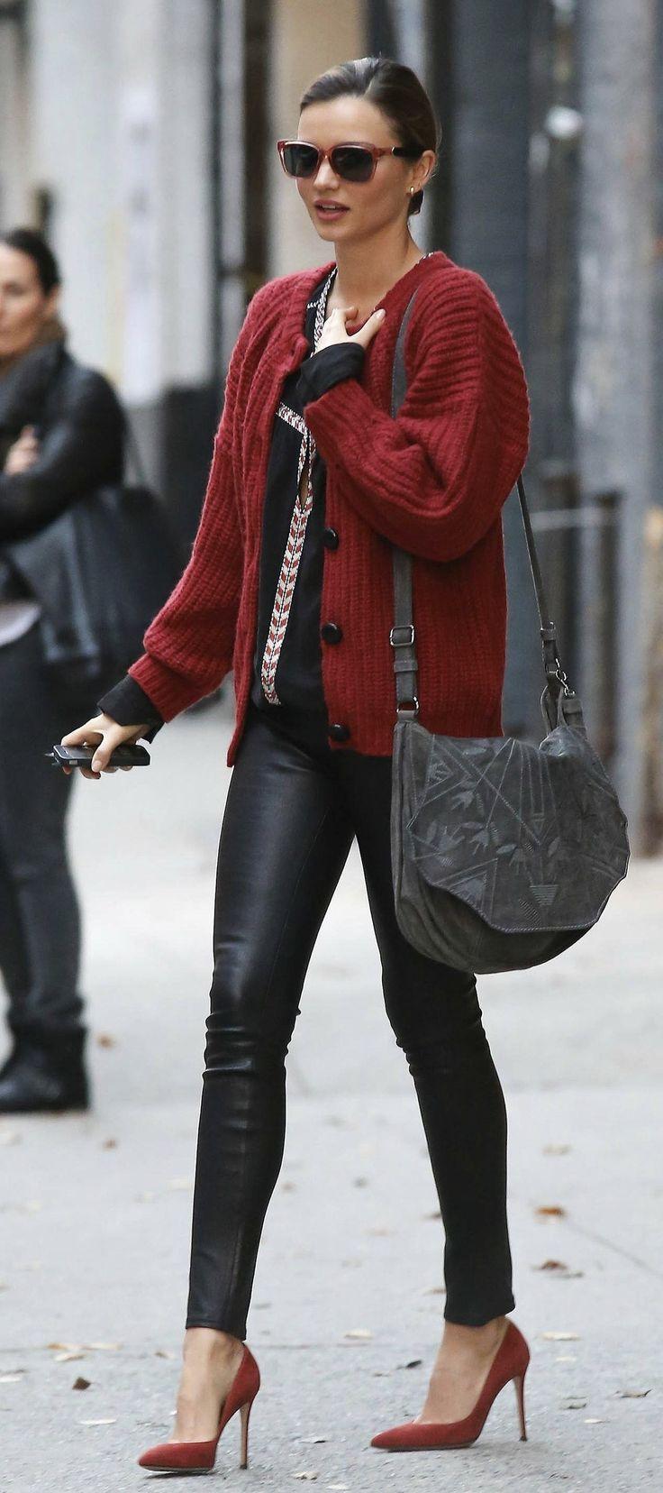 black-skinny-jeans-black-top-blouse-peasant-howtowear-fall-winter-red-cardiganl-leather-red-shoe-pumps-gray-bag-sun-bun-mirandakerr-celebrity-model-hairr-classic-dinner.jpg