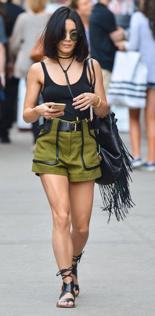 green-olive-shorts-black-top-tank-black-shoe-sandals-sun-necklace-choker-belt-black-bag-vanessahudgens-howtowear-fashion-style-outfit-spring-summer-brun-weekend.jpg