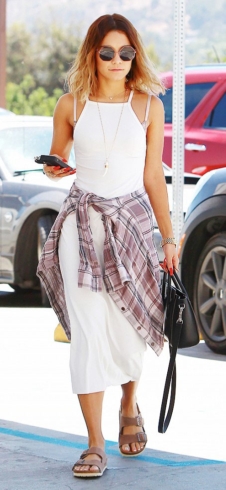 white-dress-purple-light-plaid-shirt-bodycon-sun-brown-shoe-sandals-black-bag-vanessahudgens-howtowear-fashion-style-outfit-hairr-spring-summer-weekend.jpg