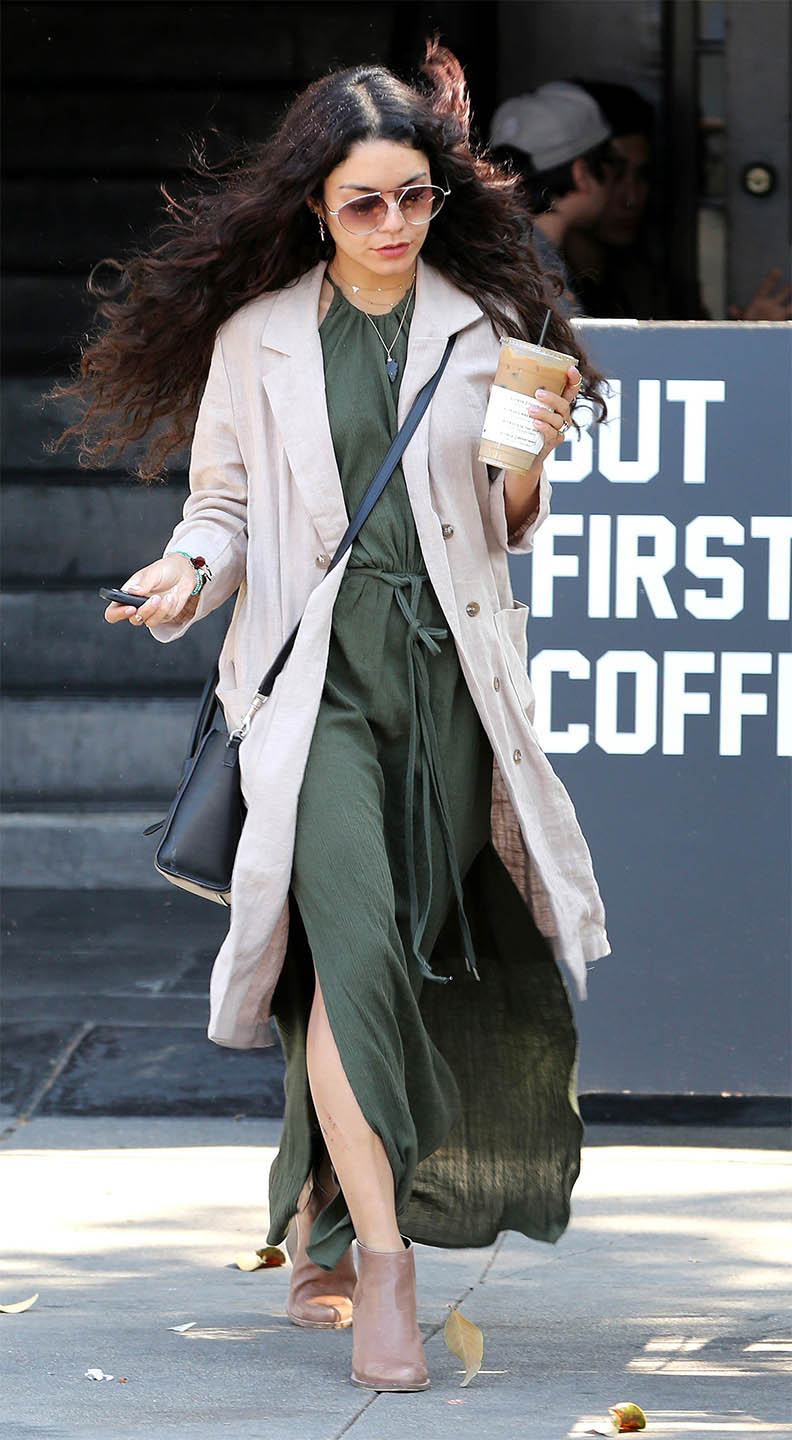 green-olive-maxi-dress-tan-jacket-linen-black-bag-sun-tan-shoe-booties-vanessahudgens-spring-summer-brun-lunch.jpg