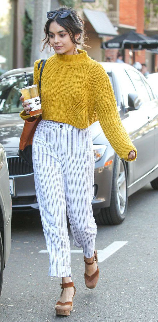 white-slim-pants-yellow-sweater-bun-cognac-bag-cognac-shoe-sandalw-stripe-vanessahudgens-spring-summer-brun-lunch.jpg