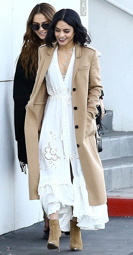 white-dress-maxi-tan-shoe-booties-camel-jacket-coat-necklace-vanessahudgens-fall-winter-brun-lunch.jpg