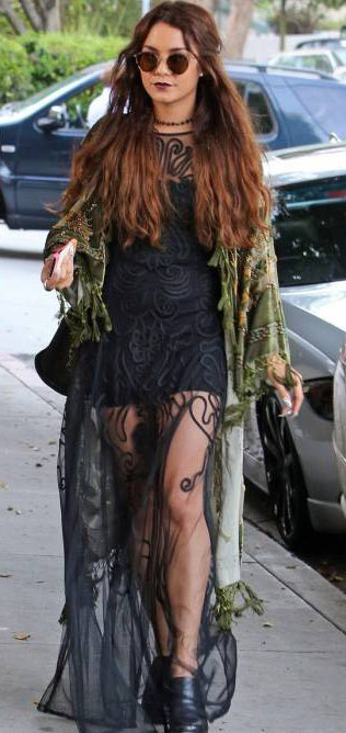black-dress-maxi-sheer-seethrough-green-olive-cardigan-black-shoe-booties-clogs-sun-vanessahudgens-fall-winter-brun-lunch.jpg