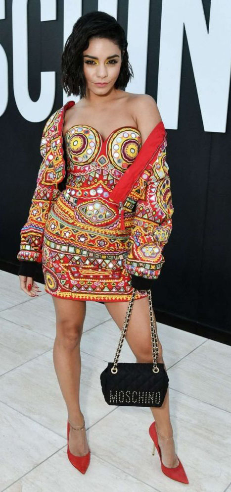 red-dress-mini-print-strapless-red-jacket-match-red-shoe-pumps-black-bag-vanessahudgens-spring-summer-brun-dinner.jpg