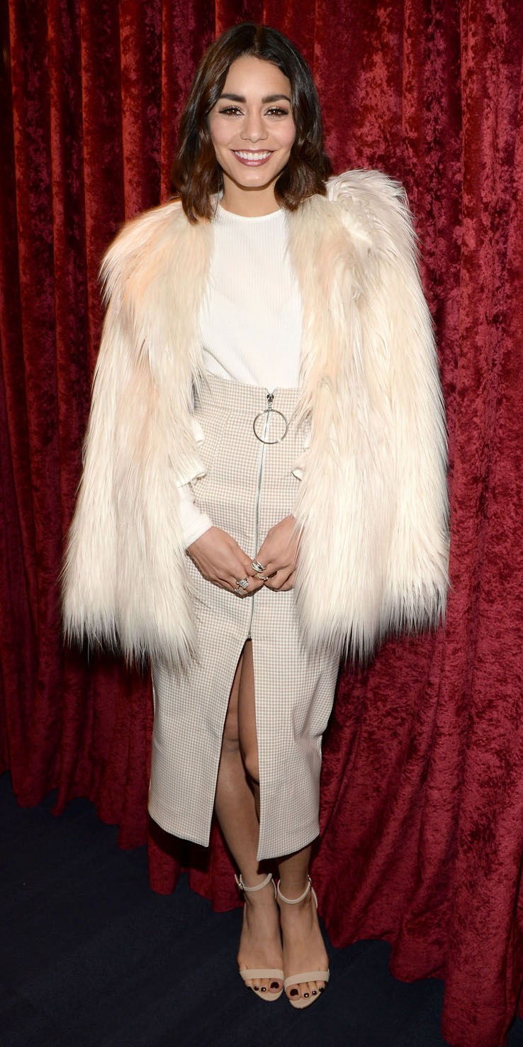 white-midi-skirt-white-top-slit-white-jacket-coat-fur-fuzz-tan-shoe-sandalh-vanessahudgens-fall-winter-brun-dinner.jpg