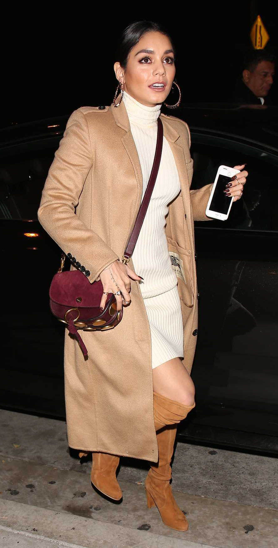 white-dress-sweater-turtleneck-burgundy-bag-hoops-cognac-shoe-boots-camel-jacket-coat-vanessahudgens-fall-winter-brun-dinner.jpg