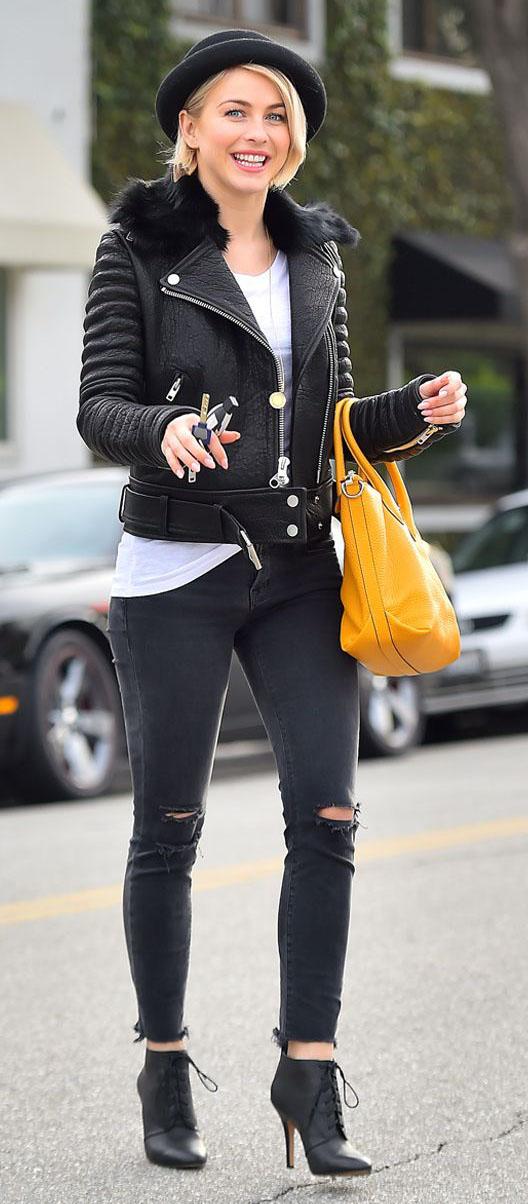 black-skinny-jeans-white-tee-black-jacket-moto-yellow-bag-hat-black-shoe-booties-juliannehough-blonde-fall-winter-lunch.jpg