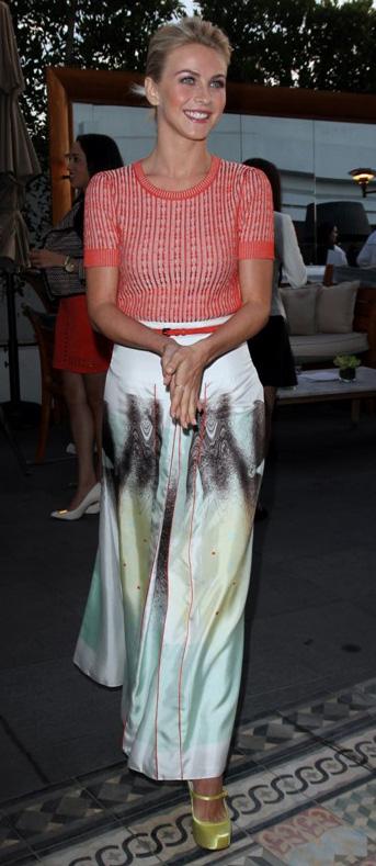 white-maxi-skirt-print-red-sweater-belt-yellow-shoe-pumps-juliannehough-blonde-spring-summer-dinner.jpg