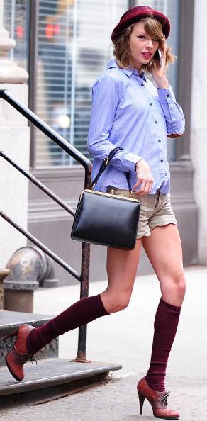 tan-shorts-blue-light-top-collared-shirt-hat-socks-cognac-shoe-booties-black-bag-romantic-girly-taylorswift-fall-winter-blonde-lunch.jpg