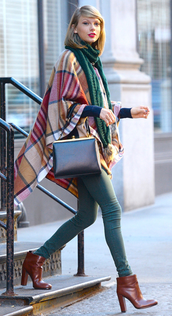 green-emerald-skinny-jeans-blue-navy-sweater-tan-sweater-poncho-black-bag-fall-winter-plaid-cape-green-emerald-scarf-cognac-shoe-booties-taylorswift-newyork-blonde-lunch.jpg