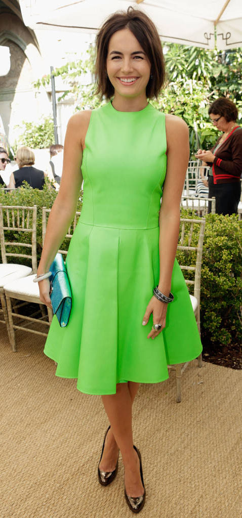 green-emerald-dress-aline-pleat-blue-bag-clutch-bracelet-camillabelle-brun-spring-summer-lunch.jpg