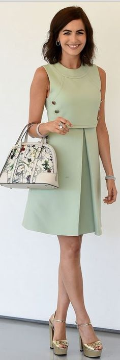green-light-dress-aline-boxpleat-white-bag-tan-shoe-pumps-hoops-camillabelle-brun-spring-summer-lunch.jpg