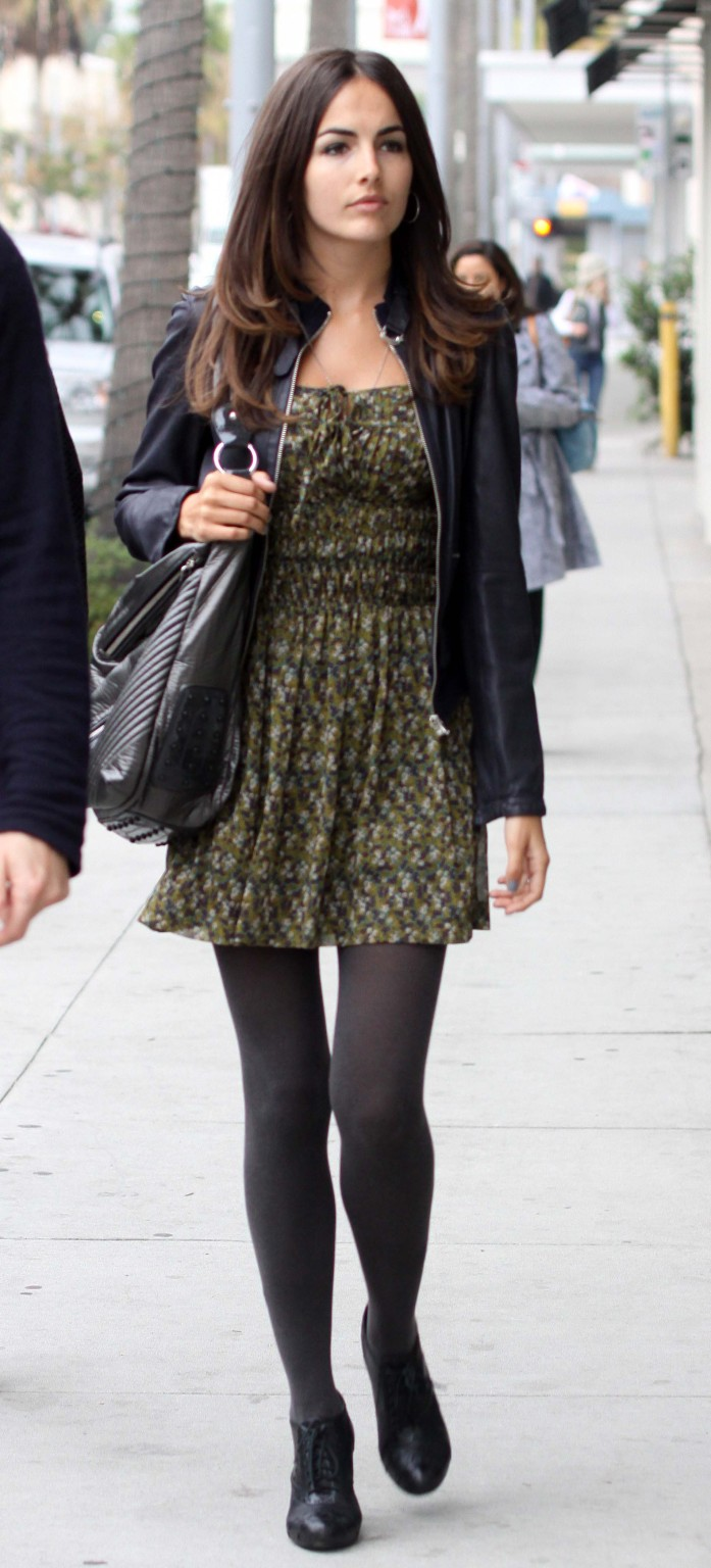 green-olive-dress-mini-print-black-jacket-moto-black-bag-black-tights-black-shoe-booties-camillabelle-brun-fall-winter-lunch.jpg