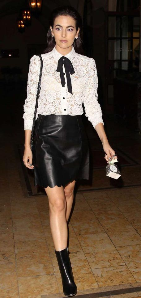 black-mini-skirt-leather-white-top-blouse-lace-bow-black-bag-black-shoe-booties-studs-camillabelle-brun-spring-summer-dinner.jpg