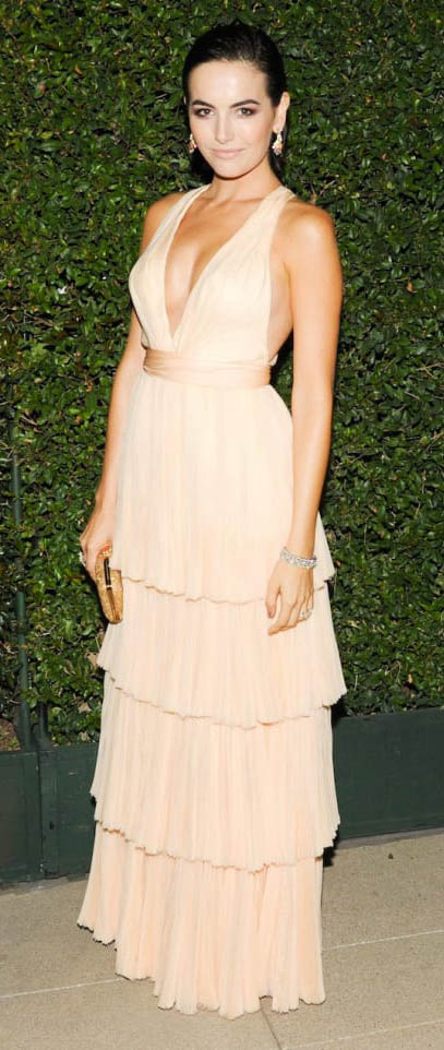 tan-dress-gown-tier-ruffle-earrings-camillabelle-brun-spring-summer-elegant.jpg