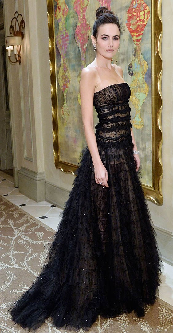 black-dress-gown-sheer-princess-ball-bun-earrings-offshoulder-camillabelle-brun-fall-winter-elegant.jpg