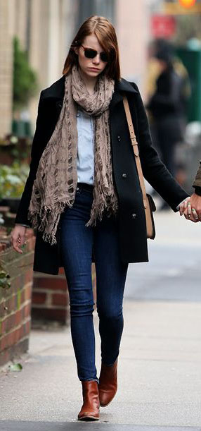 blue-navy-skinny-jeans-blue-light-top-collared-shirt-tan-scarf-black-jacket-coat-tan-bag-sun-cognac-shoe-booties-emmastone-fall-winter-hairr-weekend.jpg