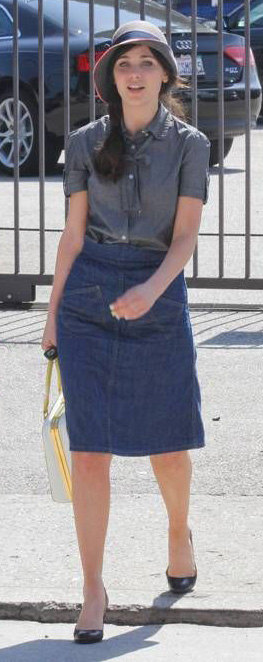 blue-med-aline-skirt-grayd-top-blouse-hat-black-shoe-pumps-zooeydeschanel-brun-spring-summer-lunch.jpg