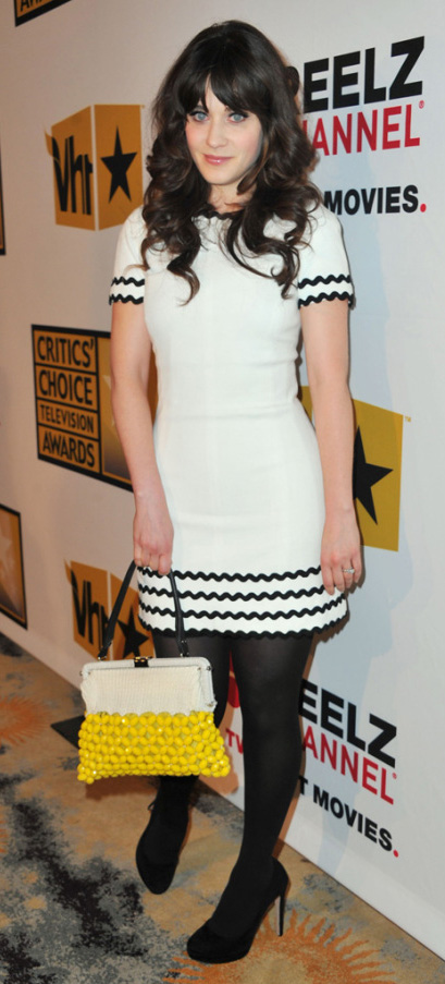 white-dress-mini-yellow-bag-black-tights-black-shoe-pumps-zooeydeschanel-brun-spring-summer-dinner.jpg