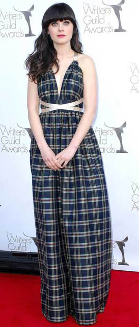 blue-navy-dress-gown-plaid-print-zooeydeschanel-brun-spring-summer-elegant.jpg