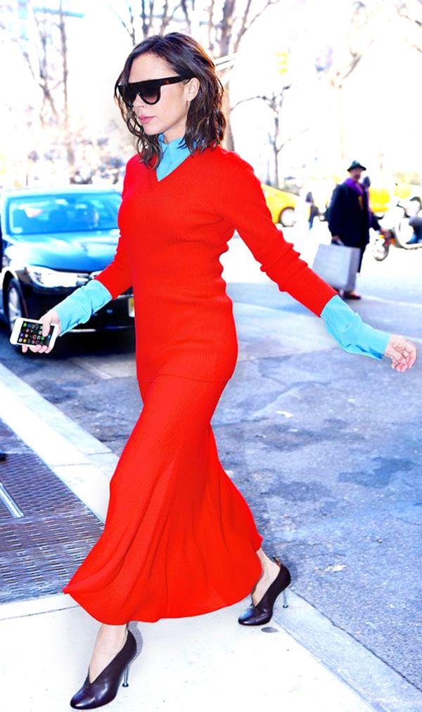 red-dress-sweater-black-shoe-pumps-blue-light-top-collared-shirt-layer-sun-victoriabeckham-brun-fall-winter-work.jpg