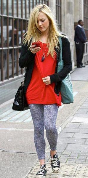blue-light-leggings-red-tee-black-cardigan-black-bag-necklace-pend-fearnecotton-wear-outfit-fashion-fall-winter-converse-black-shoe-sneakers-blonde-weekend.jpg